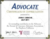 Appreciation to John Denove for Advocate PAIN 101 Article