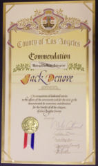 County of Los Angeles Comendation to John Denove