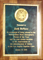 Los Angeles Superior Court Recognition of Jack Denove as Person of the Year from Metropolitan News