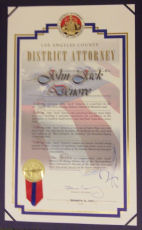 Los Angeles District Attorney honoring John F. Denove