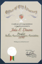 Office of City Attorney Los Angeles Certificate of Appreciation to John F. Denove