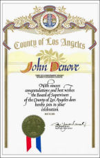 John Denove Appreciation from County of Los Angeles
