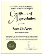 Superior Court, John Denove, Certificate of Appreciation