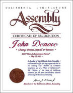 California Assembly - Man of Achievement, John Denove