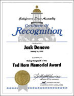 Ted Horn Memorial Award, Certificate of Recognition, California State Assembly