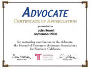 The Advocate, Certification of Appreciation, John Rowell 2005