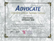 The Advocate, Certification of Appreciation, John Rowell 2008
