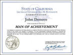 State of California, Man of Achievement Award, John Denove