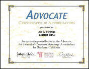 The Advocate, Certification of Appreciation, John Rowell, 2006