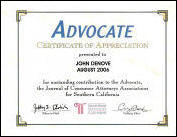 The Advocate, Certification of Appreciation to John Denove 2006