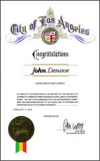 John Denove Appreciation from City of Los Angeles