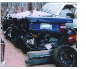 Client vehicle after accident