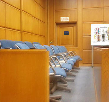 jury box and trial exhibit