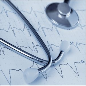 Medical items, stethoscope, medical report